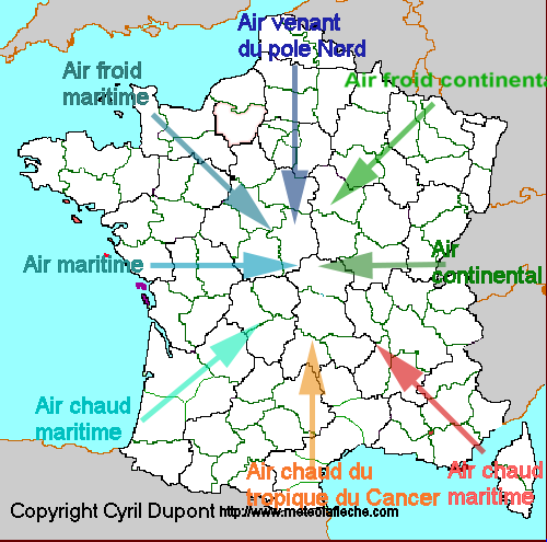 Les masses d'air en France