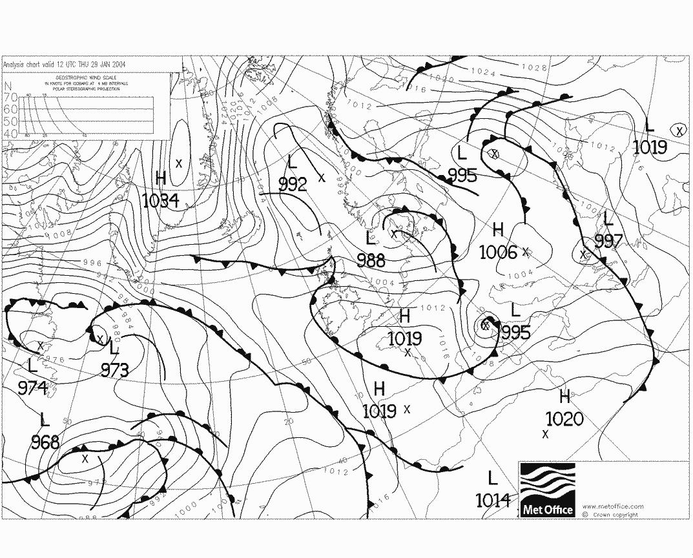 Pression atmospherique Jeudi 29 Janvier 2004