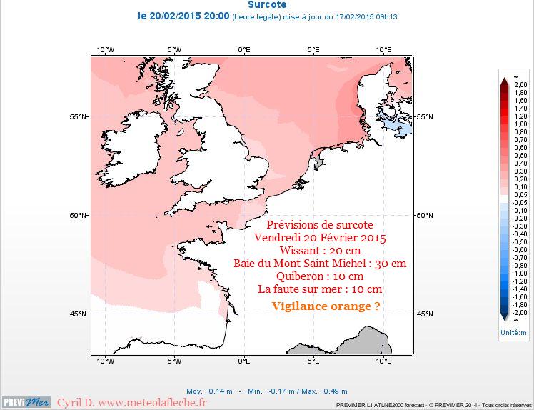 20 Février 2015 surcote Manche Atlantique