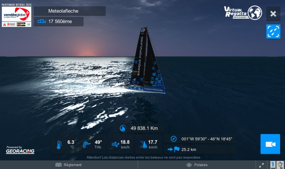 Soleil couchant Virtual Regatta