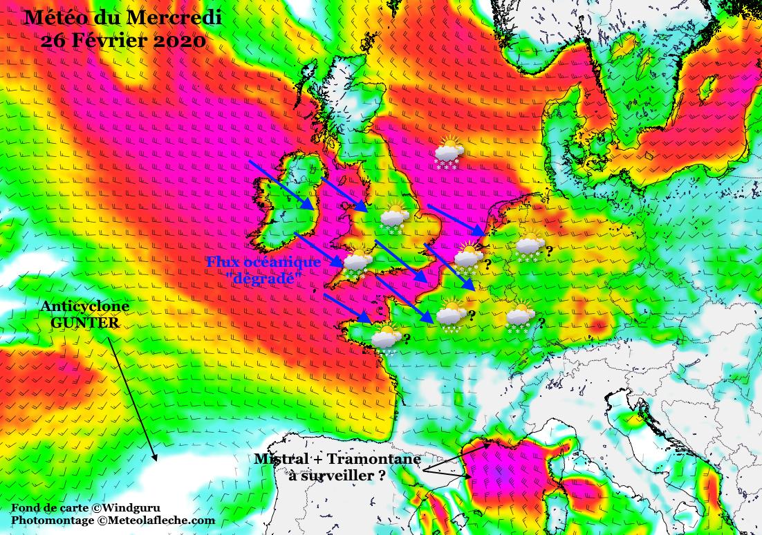 Meteo Europe neige 26 Février 2020