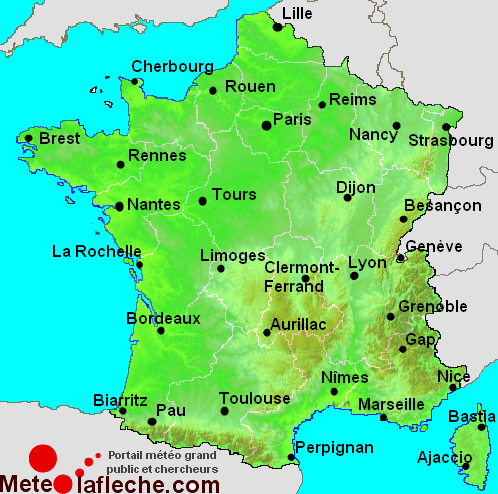 points villes sur la carte de France